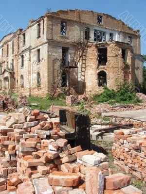 The Old Broken Piano Among Ruins