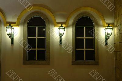 Facade of windows and antique lanterns