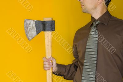 Bussinessman with a axe