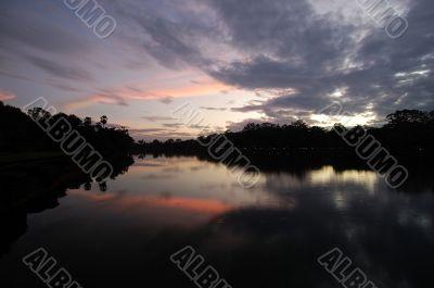 Moat of Angkor Wat at sunset