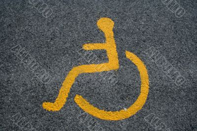 Yellow Sign For Disabled Parking