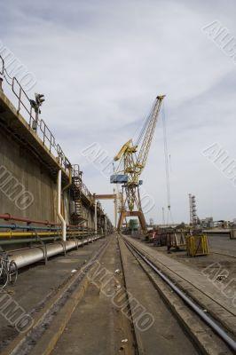 Railroad and crane