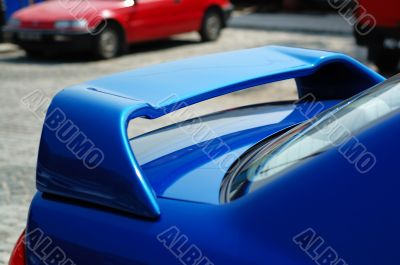 The rear part of a sportive car