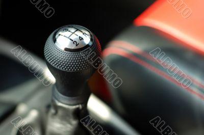 Gearshift of sportive car