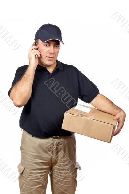 Courier talk with cellphone