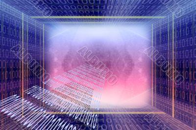 Binary code digital tunnel background