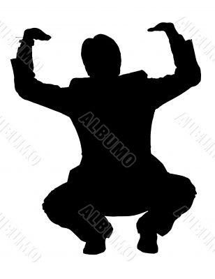 business man silhouette pushing up