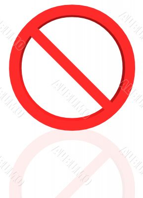 banned sign with reflection