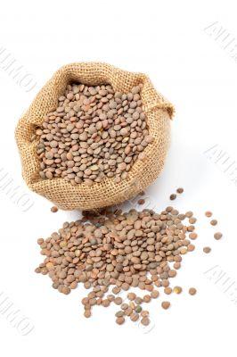 Burlap sack with lentils