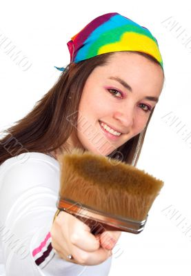 beautiful artist with her brush
