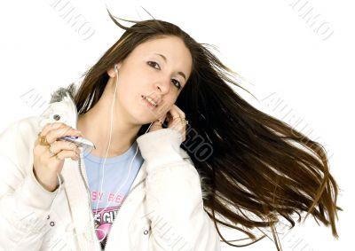 enjoying her music