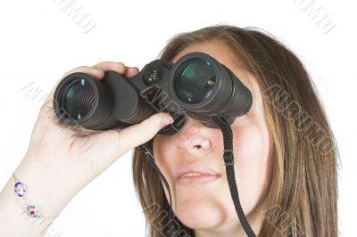 beautiful girl with binoculars