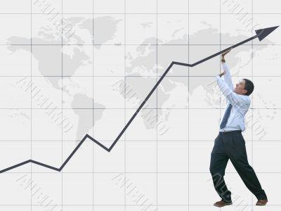 business man pushing graph up - success