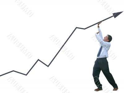 business man pushing graph  - isolateed