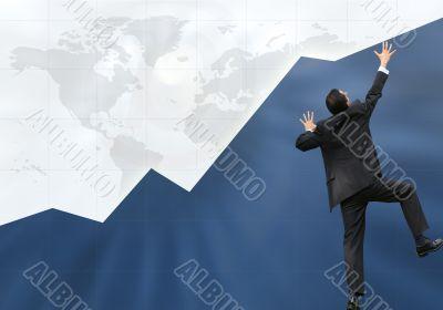 business man climbing graph up - success