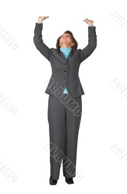 business woman pushing something up