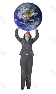 business woman pushing world up
