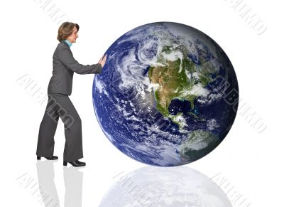 business woman pushing the earth