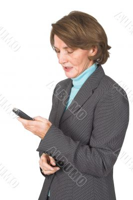 business woman texting via sms