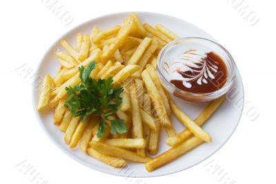 French fries and sauce, isolated on white