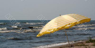 Yellow Beach Umbrella Panorama