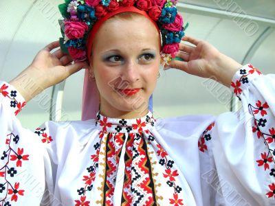 ukrainian girl in colorful national folk costume