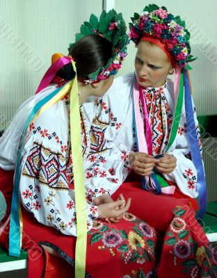 ukrainian girls in colorful national folk costumes
