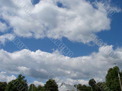 Cloudy sky wide angle panoramic view