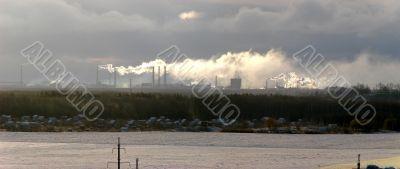 Sunset cloudy industrial landscape