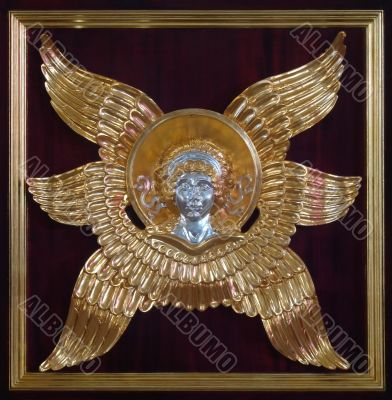 Golden metal decorative angel figurine
