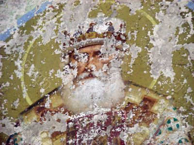 Destructed religious wall painting