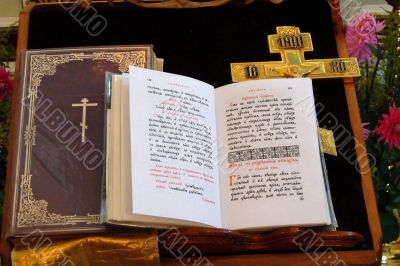 Slavic Gospel using for pray by orthodox priests