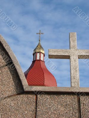Orthodox Church with red Cupola with Holy Cross