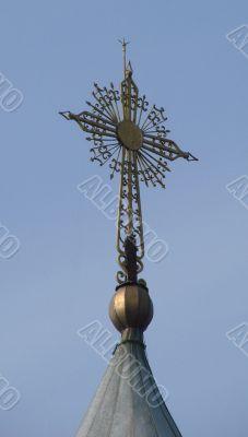 Orthodox Church`s Holy Cross upon cupola