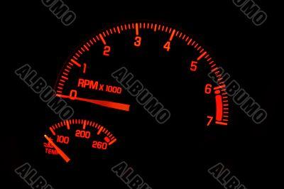 Dashboard Tachometer Temperature Gauge