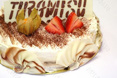 Birthday cake of Tiramisu