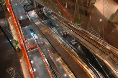 The escalators in airport entertainment center