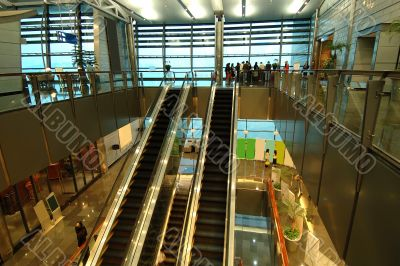 The escalators in entertainment center