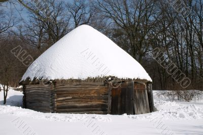 Old wooden peasant`s house