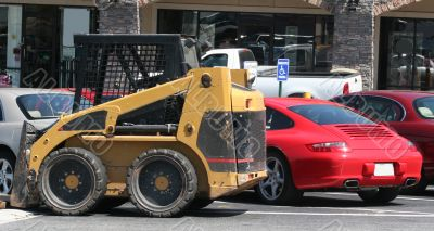 Forklift and Sports Car