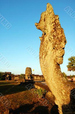 Naga head at Angkor Wat