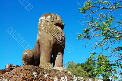 Guardian lion over blue sky
