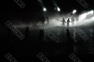 Scene of night fishing