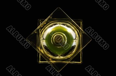 Top view of perfume bottle