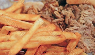 Barbecue Pork and French Fries