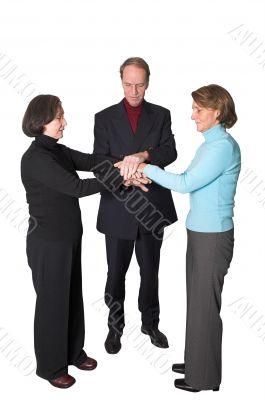 business teamwork - hands together