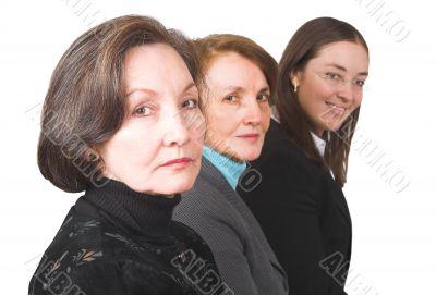 business female management team over white