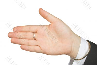 palm of hand facing