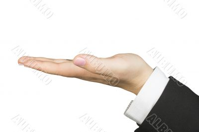 hand of a business woman facing up