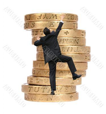 business growth - man climbing coins